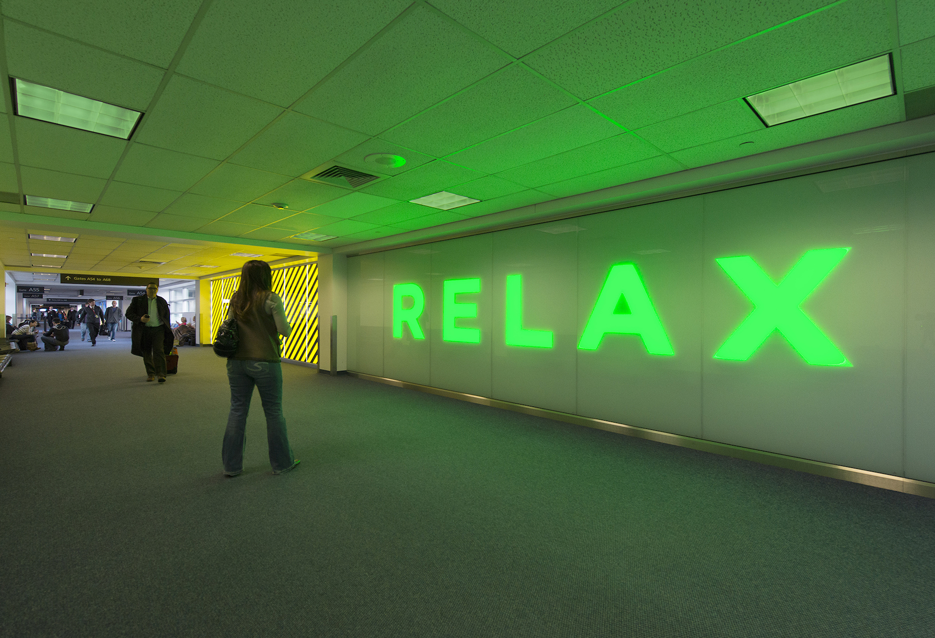 Photo of RELAX by Electroland LLC. 2013. Denver International Airport and Arts & Venues Denver: Public Art Program. Photo courtesy Electroland LLC.