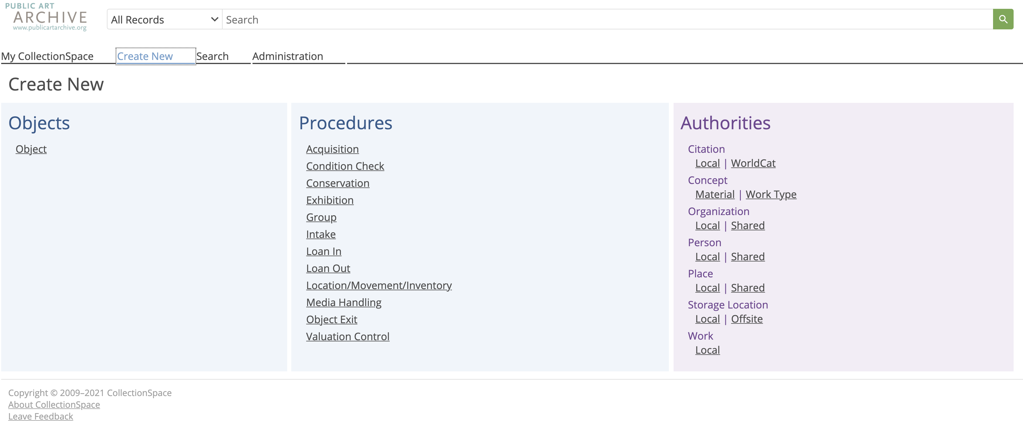 Image of the Public Art Archive Collection Management System